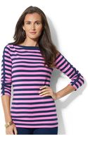 Lauren by Ralph Lauren Three Quarter Sleeve Top - Lyst