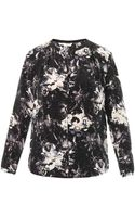 Rebecca Taylor Floral-Print Silk Blouse - Lyst