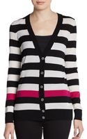 DKNY Striped ColorBlock Merino Cardigan - Lyst
