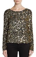 Alice + Olivia Pixie Sequined Boatneck Top - Lyst