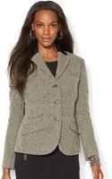 Lauren by Ralph Lauren Petite Leather Trim Wool Blend Jacket - Lyst