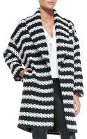 Alice + Olivia Ralter Striped Tweed Oversized Coat - Lyst