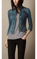 Burberry Fitted Stretchdenim Jacket - Lyst