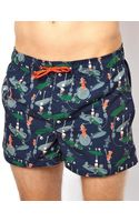 Humor Printed Swim Shorts - Lyst