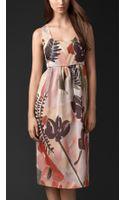 Burberry Floral Print Silk Cotton Shift Dress - Lyst