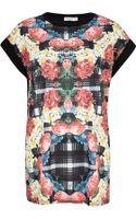 River Island Floral Check Print Embellished T-Shirt - Lyst