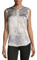 Rebecca Taylor Silk Leopard-print Sleeveless Blouse - Lyst