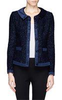Armani Satin Trim Tweed Jacket - Lyst