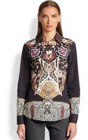 Etro Printed Cotton Poplin Shirt - Lyst