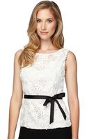 Alex Evenings Sequined Rosette Lace Top - Lyst