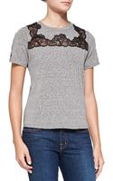 Rebecca Taylor Lace-inset Short-sleeve Top - Lyst