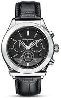 Ferragamo Black Leather Strap Watch 42mm - Lyst