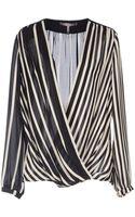Halston Heritage Overlap Long-Sleeves Silk Blouse - Lyst
