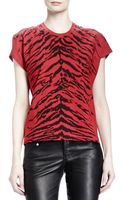 Saint Laurent Shortsleeve Zebraprint Tshirt Rougenoir - Lyst