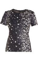 BCBGMAXAZRIA Tulum Short-sleeve Printed Top Blackgrey X-small - Lyst