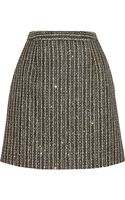 Saint Laurent Sequinembellished Metallic Tweed Mini Skirt - Lyst
