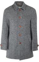Oliver Spencer Charcoal Wool Knit Grandpa Coat - Lyst