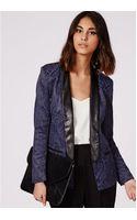 Missguided Jacquard Tailored Tuxedo Blazer Navy - Lyst