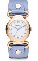 Marc By Marc Jacobs Rose Goldtonefinished Stainless Steel Blue Leather Strap Watch - Lyst