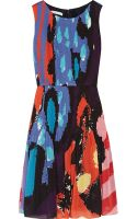 Oscar De La Renta For The Outnet Printed Silkchiffon Dress - Lyst