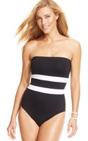 Lauren by Ralph Lauren Striped Bandeau Onepiece Swimsuit - Lyst