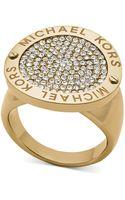 Michael Kors Goldtone Logoetched Pavè Disc Ring - Lyst