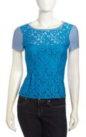 Nanette Lepore Grand Entry Lace Striped Peplum Top - Lyst