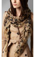 Burberry Animal Print Silk Georgette Scarf - Lyst