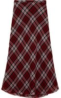 Michael by Michael Kors Plaid Silk Voile Maxi Skirt - Lyst