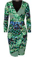 Roberto Cavalli Printed Jersey Dress in Blackgreen - Lyst