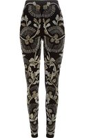River Island Black Embellished Front Skinny Trousers - Lyst