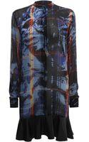 McQ by Alexander McQueen Leopard Tartan Ruffle Shirt Dress - Lyst