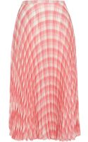 River Island Pink Check Pleated Midi Skirt - Lyst