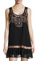 Michael Stars Silk Metallic Bead Tank Dress - Lyst