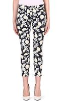 7 For All Mankind The Skinny Floral Print Mid Rise Jeans Black Floral Print - Lyst