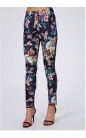 Missguided Ella Floral Print Cigarette Trousers Purple - Lyst