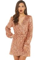 Akira Black Label Wild About Tonight Sequin Dress in Rose Gold - Lyst