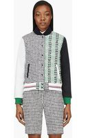 Thom Browne Navy and Green Tweed Leather Sleeve Baseball Jacket - Lyst