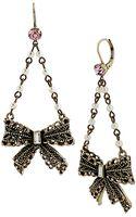 Betsey Johnson Faux Pearl Bow Chandelier Drop Earrings - Lyst