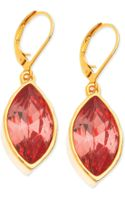 T Tahari Goldtone Crystal Navette Euro Leverback Drop Earrings - Lyst