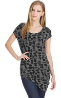 DKNY Printed Asymmetrical Scoop Neck Tee - Lyst