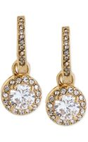 Betsey Johnson Goldtone Crystal Circle Drop Earrings - Lyst
