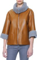 Dolce & Gabbana Ribbed Cashmere Collar Cuff Leather Jacket - Lyst