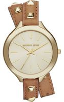 Michael Kors Womens Runway Goldtone Stud And Luggage Leather Wrap Strap 42mm - Lyst