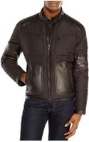 Andrew Marc Black Mixed Media Motorcycle Jacket - Lyst