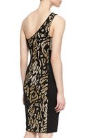Versace Oneshoulder Animalpatterned Dress Blackgold - Lyst