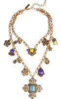 Oscar de la Renta Gold Plated Cabochon Medallion Necklace - Lyst