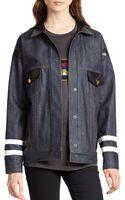 Jennifer Chun Leather-accented Denim Jacket - Lyst