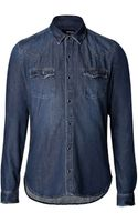 The Kooples Washed Denim Shirt - Lyst