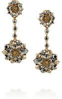 Oscar de la Renta Gold-plated Crystal Drop Clip Earrings - Lyst